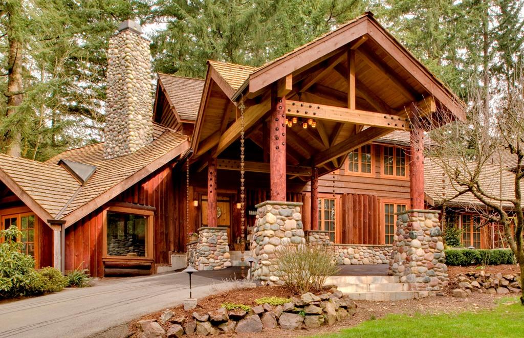 Log Home Covered Entry Tenhulzen Residential