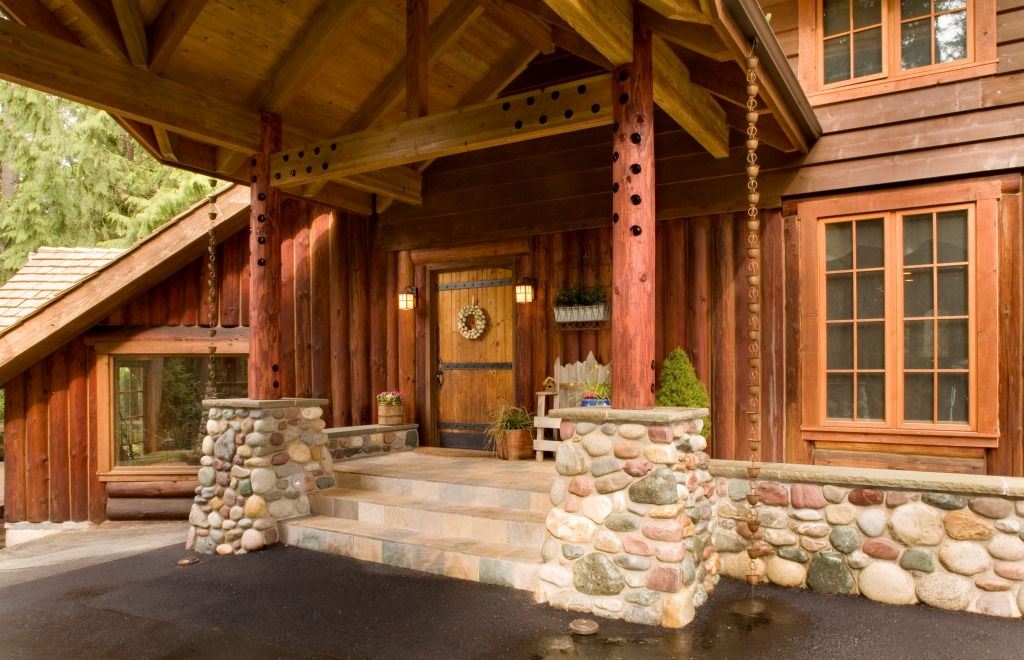 Log Home Covered Entry Tenhulzen Residential